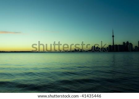 Surreal rendition of a toronto skyline - stock photo