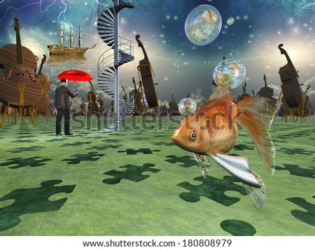 Surreal scene with various elements - stock photo
