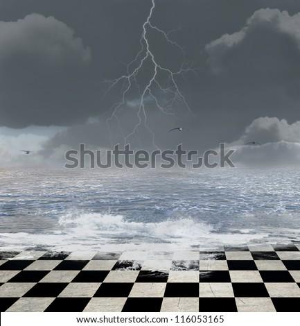 Surreal seascape - stock photo