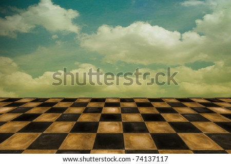 Surreal setting/background with old worn tiles and cloudscape - stock photo