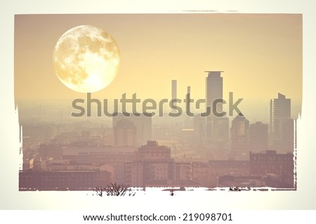Surreal skyline with full moon. Pollution concept. - stock photo