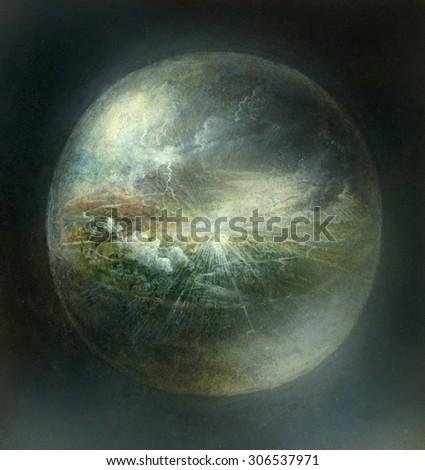 Surreal sphere - stock photo