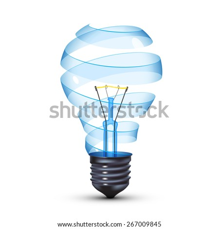surreal spiral glass tungsten light bulb - stock photo