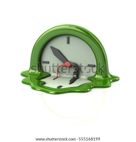Surreal style melting green clock time concept 3d rendering on white background