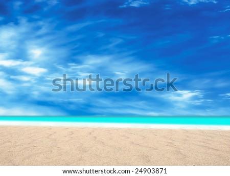 surreal summertime on desert beach - stock photo