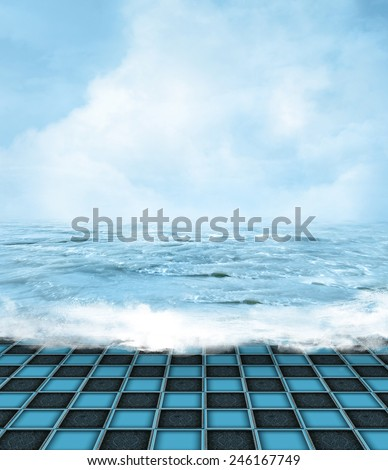 Surreal sunny seascape - stock photo
