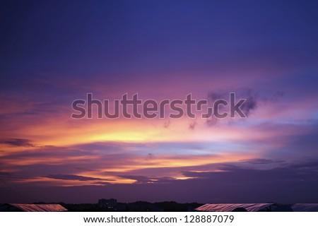 Surreal Sunset Sky, India - stock photo