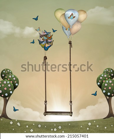 Surreal swing - stock photo