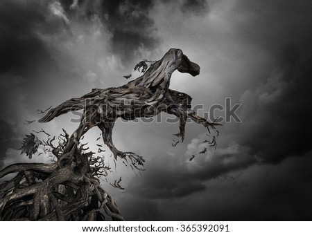 Surreal tree horse as the roots of trees shaped as a pure breed stallion breaking free from constraints to break free and move forward as a motivation for independent spirit of freedom and power. - stock photo