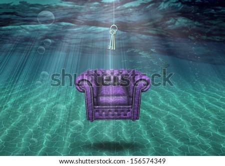Surreal underwater scene - stock photo