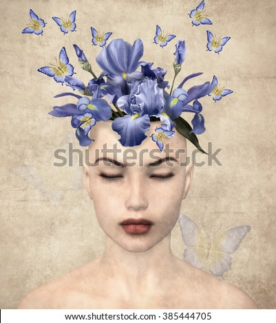 Surreal vintage portrait of a woman with flowers inside her mind - stock photo