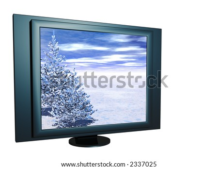 Surreal winter view on a LCD screen. 3D scene.