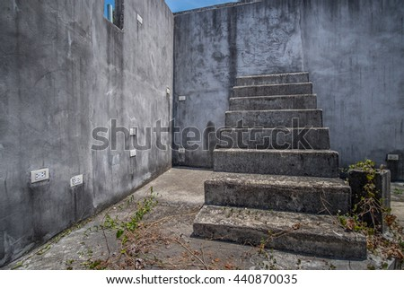 Surrealism Abandon Half House Grey Wall Stair Cement Texture Scene