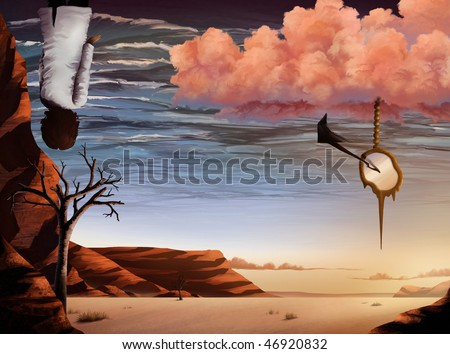 surrealist artwork of a desert landscape and ocean sky - stock photo