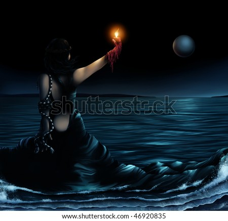 surrealist artwork of a woman wearing a dress which becomes the ocean - stock photo