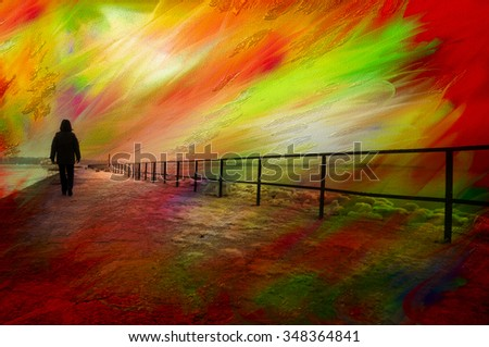 Surrealistic colorful image of lonely person walking on a pier - stock photo