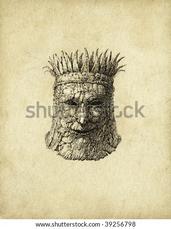 Surrealistic head. Ink on paper - stock photo
