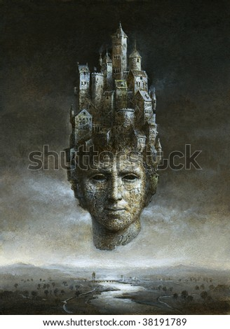 Surrealistic head, painted with acrylic on paper. - stock photo