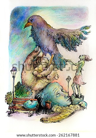 Surrealistic illustration of a hatching shaman trying to please a giant park bird, detailed intricate colorful drawing, outlined - stock photo