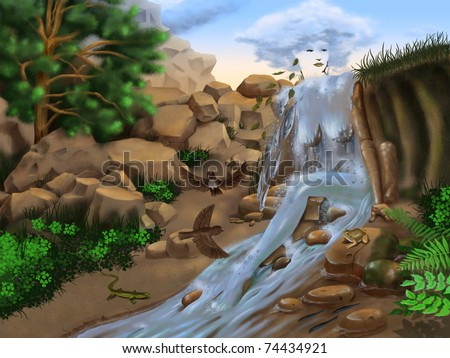 Surrealistic landscape of the nature with a female figure. - stock photo