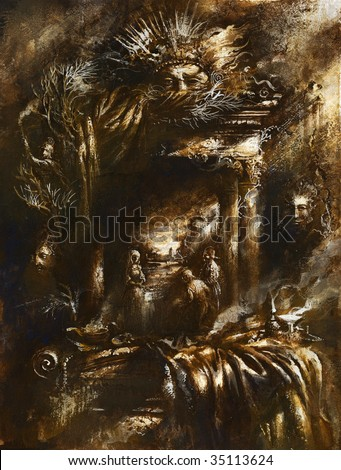 Surrealistic scene in the Antique style. Made by acrylic on paper. - stock photo
