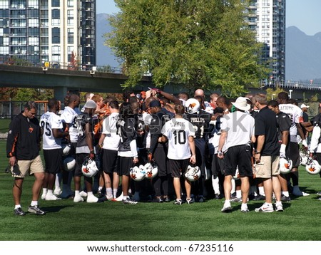 SURREY, BRITISH COLUMBIA / CANADA - 30 SEPTEMBER : B. C. Lions Football team of British Columbia Vancouver on the practise on 30 september, 2010  at their training facility in Surrey B.C. Canada.