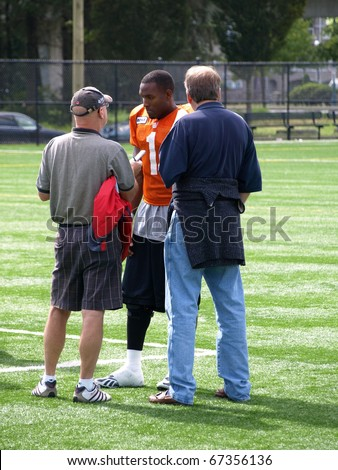 SURREY, BRITISH COLUMBIA / CANADA - 07 SEPTEMBER : Casey Printers B.C. Lions Football player of British Columbia gives interview on 07 september, 2010 at their training facility in Surrey B.C. Canada