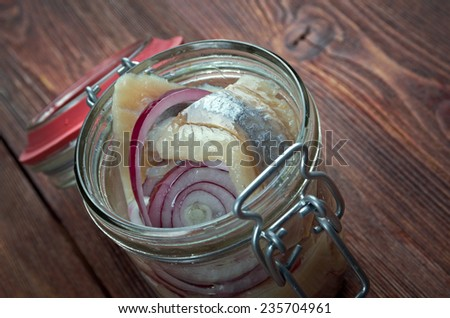 Sursild - Pickled herring a delicacy in Europe, and has become a part of Baltic, Nordic, Dutch - stock photo