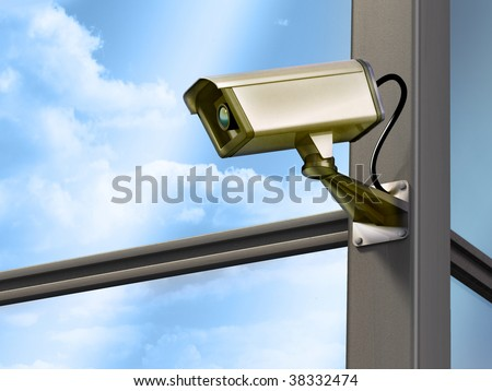 Surveillance cam on a modern building structure. Digital illustration. - stock photo
