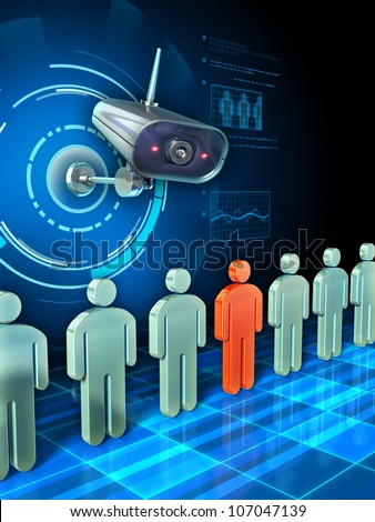 Surveillance camera about to examine some people icons passing in front of it. Digital illustration. - stock photo