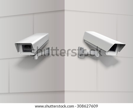 Surveillance camera home protection equipment secrecy inspection system on the wall  illustration - stock photo