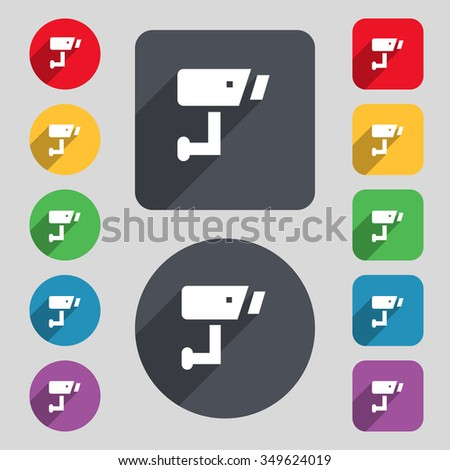 Surveillance Camera icon sign. A set of 12 colored buttons and a long shadow. Flat design. illustration - stock photo
