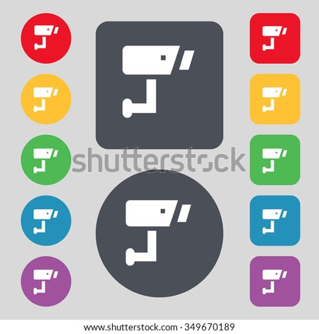 Surveillance Camera icon sign. A set of 12 colored buttons. Flat design. illustration - stock photo