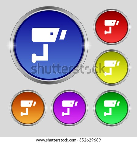 Surveillance Camera icon sign. Round symbol on bright colourful buttons. illustration - stock photo