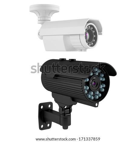 Surveillance Camera isolated - stock photo