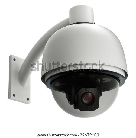 surveillance camera isolated on white background, studio shot - stock photo