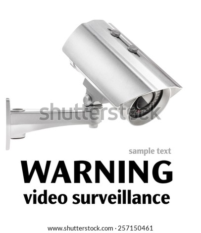 Surveillance camera isolated on white background, with clipping paths - stock photo