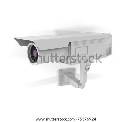 Surveillance Camera On Facade - 3d illustration