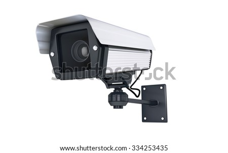 Surveillance Camera on white background. clipping path - stock photo