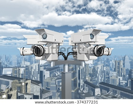 Surveillance camera over a city Computer generated 3D illustration - stock photo