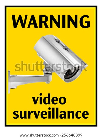 Surveillance camera warning sign, camera with clipping paths - stock photo