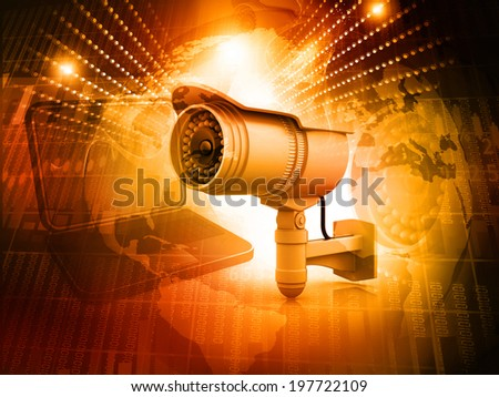 Surveillance camera with digital world	 - stock photo