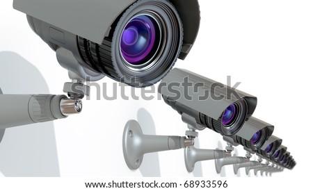 surveillance cameras - stock photo
