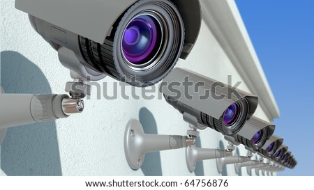 surveillance cameras, 3d illustration - stock photo