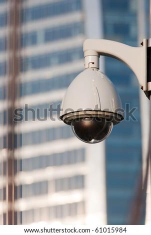Surveillance Cameras of Office Building - stock photo