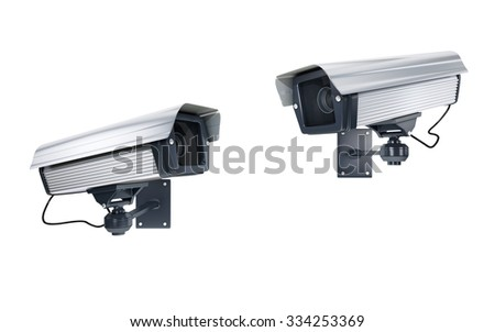 Surveillance Cameras watching each other on white background. clipping path - stock photo