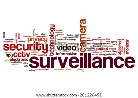 Surveillance concept word cloud background - stock photo