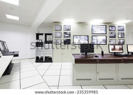surveillance control room interior of airport - stock photo