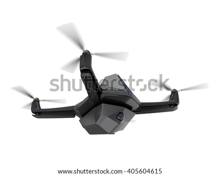 Surveillance drone isolated on white background. 3D rendering image with clipping path available. - stock photo