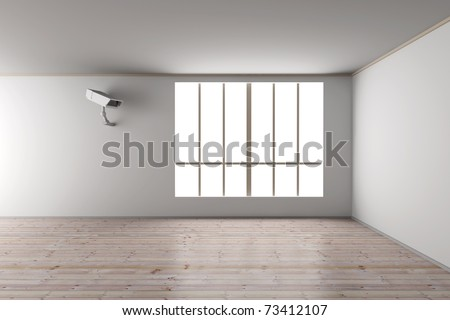Surveillance in the Living room. 3D rendered Illustration. - stock photo